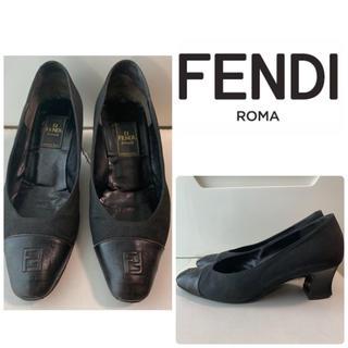 FENDI - FENDI ブラックキャンバス  アイコンパンプス