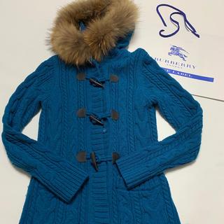 バーバリーブルーレーベル(BURBERRY BLUE LABEL)の極美品 バーバリー・ブルーレーベル タヌキ毛皮付きロングカーディガン(カーディガン)