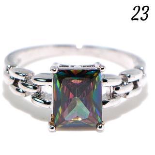 Y6 リング 23号 人工石 レインボートパーズ 大粒 大きいサイズ(リング(指輪))