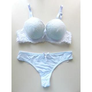 新品♥ホワイト 総レース ブラ&ショーツセット B75 白 透け