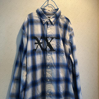 god selection xxxトリプルエックス ブルー チェックシャツ