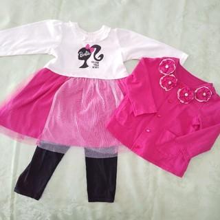Barbie - Barbie バービー ワンピースとカーディガンとスパッツの3点セット  90