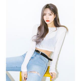 ミックスエックスミックス(mixxmix)のmixxmix 短丈 ロングTシャツ 韓国ファッション(Tシャツ(長袖/七分))