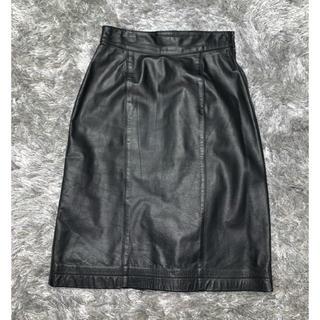 牛革★ひざ丈スカート(ひざ丈スカート)