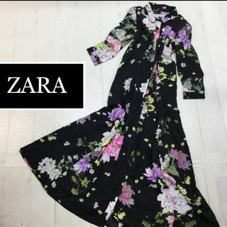 ザラ(ZARA)のZARA ブーケ柄ワンピース xs (ロングワンピース/マキシワンピース)