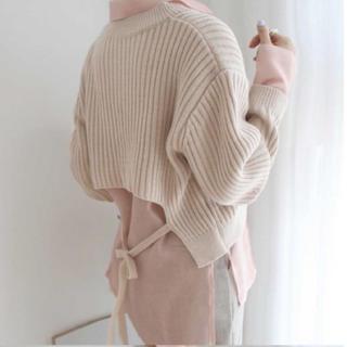 dholic - ベージュ ニット 後ろリボン 韓国ファッション