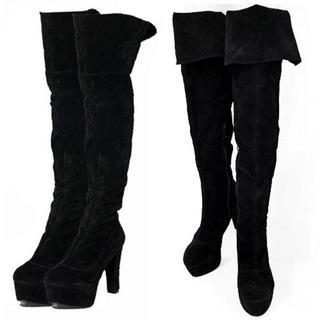 新品☆42(大きいサイズ)黒プラットフォームスエードブーツ(ブーツ)
