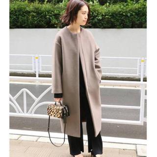 IENA - 美品 IENA ラムウールノーカラーコート 34サイズ