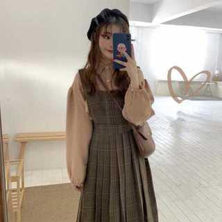 【送料無料】ジャンパースカートシャツ2点セットレディース秋Mz195(ひざ丈ワンピース)
