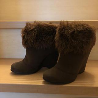 エスペランサ(ESPERANZA)の美品 ファーブーツ ショートブーツ ブラウン エスペ(ブーツ)