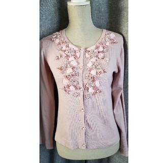 GALLERY VISCONTI - 大変美品 ギャラリー ビスコンティ リボンフラワーが豪華なカーディガン ピンク