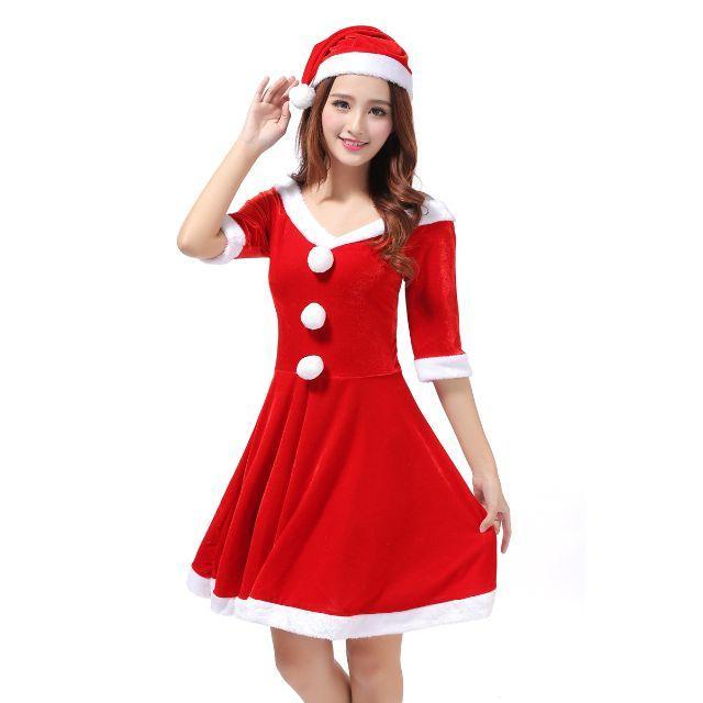 サンタ クリスマス衣装 コスプレ コスチューム 膝丈 エンタメ/ホビーのコスプレ(衣装一式)の商品写真