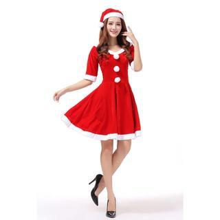 サンタ クリスマス衣装 コスプレ コスチューム 膝丈
