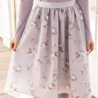トッコ(tocco)のチュール被せ花柄スカート(ひざ丈スカート)