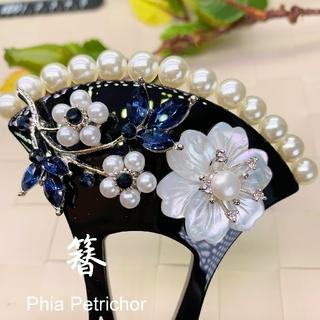 かんざし 白蝶貝 W1912142バチ型 結婚式 パール 簪 留袖 着物 成人式