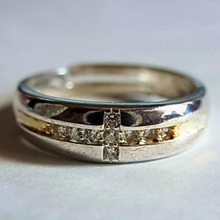 新品SVシルバー925リング指輪13号クロス十字架フリーサイズ調節CZ人工ダイヤ(リング(指輪))