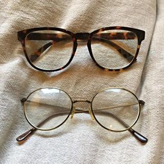べっ甲・ゴールド まる眼鏡・ウェリントン メガネセット