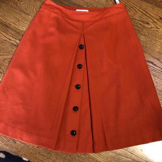 スカート  セーヌドゥー  オレンジ  L 美品(ひざ丈スカート)