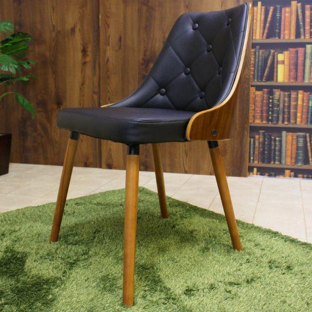 EAMES(イームズ)のイームズ チェア Eames ウォールナット ブラック インテリア/住まい/日用品の椅子/チェア(ダイニングチェア)の商品写真