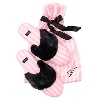 Victoria's Secret - 【新品】VS サテン スリッパ ルームシューズ ピンクストライプ S