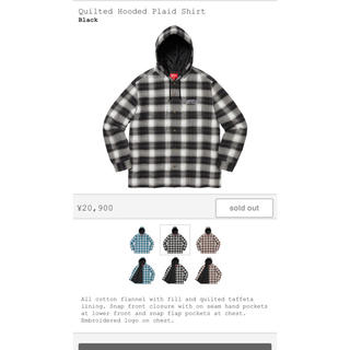 シュプリーム(Supreme)のsupreme quilted hooded plaid shirt L (パーカー)