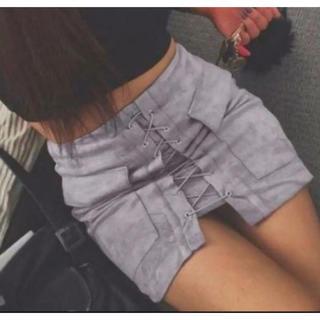 Lサイズ 海外セレブ♪人気♫レースアップ タイト ミニスカート♪シルバー(ミニスカート)