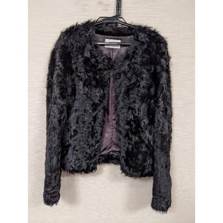 エムプルミエ(M-premier)のエムプルミエブラック 36 ファー ジャケット ブラック 黒 ラムファー(毛皮/ファーコート)