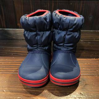 crocs - クロックス ウィンターパフブーツ 14cm 防水防雪防寒長靴 ネイビー キッズ