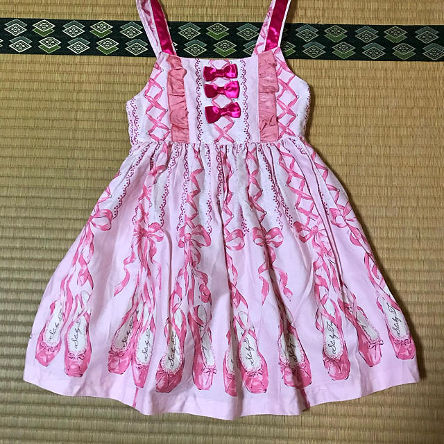 Shirley Temple(シャーリーテンプル)のシャーリーテンプル♥トゥシューズプリント♥ジャンパースカート ピンク110cm キッズ/ベビー/マタニティのキッズ服女の子用(90cm~)(ワンピース)の商品写真