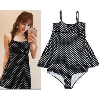 新品★6XL(特大サイズ)黒Xドット柄のワンピとパンツ水着(水着)