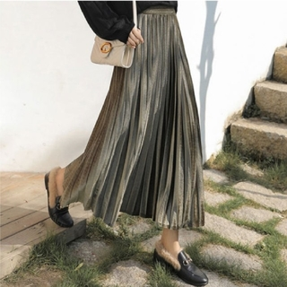 dholic - 【5color】ベロア プリーツ スカート