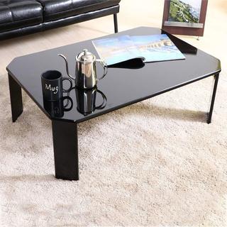 新品 特価!折りたたみ ローテーブル 幅90cm ブラック UV塗装(ローテーブル)