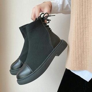 新品 美脚 ファッション ショートブーツ ソックスブーツ 靴(ブーツ)
