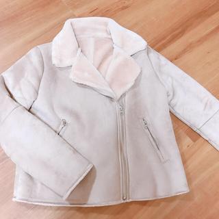 シマムラ(しまむら)のムートン風 ライダース ジャケット くすみピンク(ライダースジャケット)