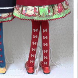 Shirley Temple - シャーリーテンプル ☆バックリボンタイツ 105 100〜115 赤