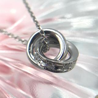 4℃ - 4℃ Pt850 ダイヤモンド ダブル ループ ネックレス 44cm