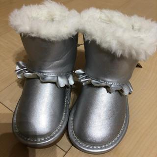ベベ(BeBe)の新品 ベベ サイズ14cm  シルバーモコモコリボンブーツ(ブーツ)