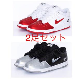シュプリーム(Supreme)のNIKE SB × supreme DUNK LOW RED & silver(スニーカー)