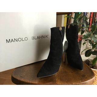 マノロブラニク(MANOLO BLAHNIK)のMANOLO BLAHNIK ショートブーツ エナメル スエード 36.5(ブーツ)