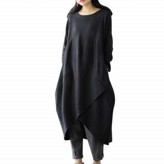 XL ブラック ワンピース 可愛い体型カバー ロングワンピース 綿麻 (ひざ丈ワンピース)
