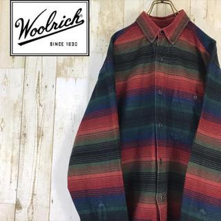 WOOLRICH - WOOLRICH ウールリッチ コットンシャツ BDシャツ ボーダー 寒暖色