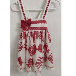 Shirley Temple - シフォンリボンプリントジャンパースカート 80サイズ シャーリーテンプル 美品