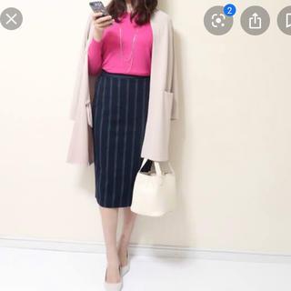 ジーユー(GU)の【新品未使用】GU ストライプナローミディスカート ネイビー M(ひざ丈スカート)