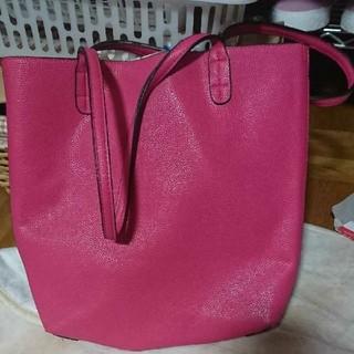 ピンク 花柄 リバーシブル トートパッグ  美品(トートバッグ)