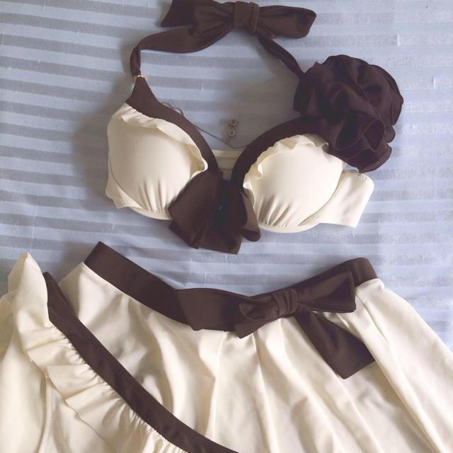 三愛水着楽園(サンアイミズギラクエン)の水着セット ホワイト×ブラウン  レディースの水着/浴衣(水着)の商品写真