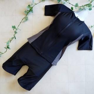 フィットネス水着⑥半袖《15LLサイズ》黒×グレー*めくれ防止付き(水着)
