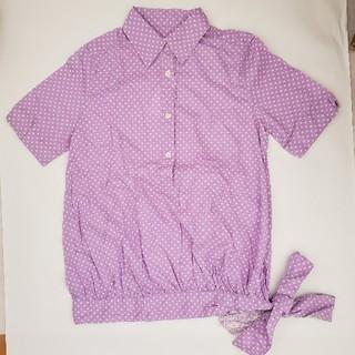 レース付きドットシャツ パープル(シャツ/ブラウス(半袖/袖なし))
