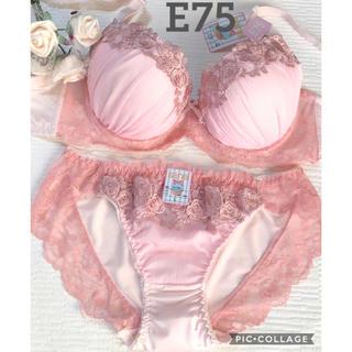 ブラショーツE75☆ピンクのラメシフォン&フラワー刺繍が可愛い♡(ブラ&ショーツセット)