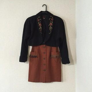 ロキエ(Lochie)の80'sVintage起毛フリースショート丈コートフラワー刺繍ジャケット(ノーカラージャケット)