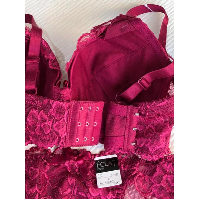ブラジャー&ショーツ♡E75☆鮮やかピンクの花柄ヌーディレース☆ レディースの下着/アンダーウェア(ブラ&ショーツセット)の商品写真